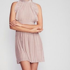 New Free People Shine Pink Metallic Pleated Dress